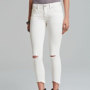 Free People White Destroyed Skinny Ankle Jeans
